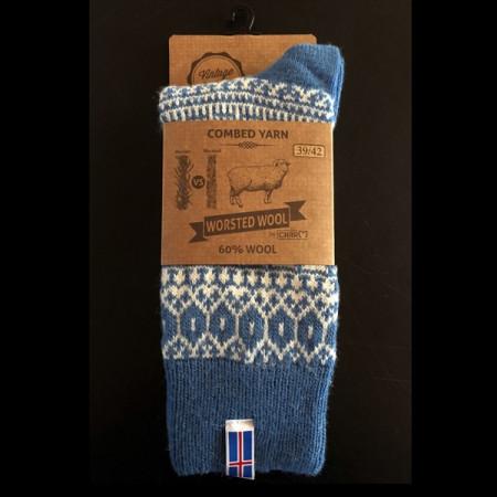 ragsokker i uld med islanske flag