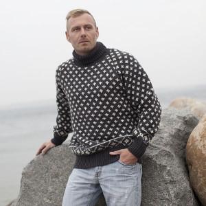 Islandsk sweater med rullekrave i 100% ren uld fra Norwool